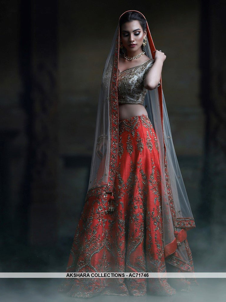 AC71746 - Coral Red Color Mulberry Silk Lehenga Choli
