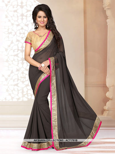 AC71761B - Black Color Georgette Saree
