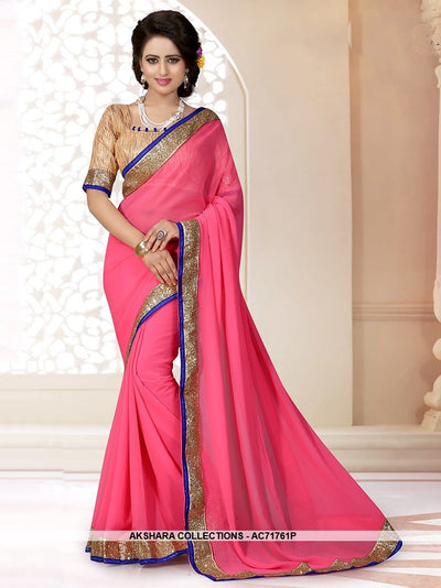 AC71761H - Rani Pink Color Georgette Saree
