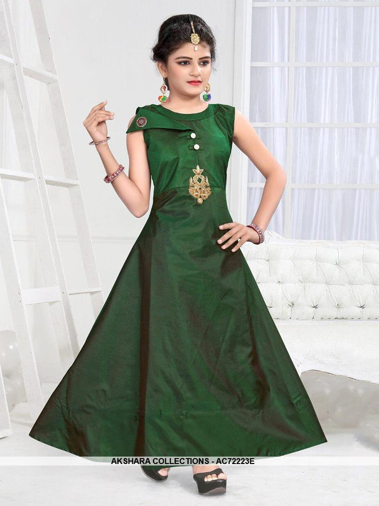 AC72223E - Green Color Soft Tafeta Silk Gown
