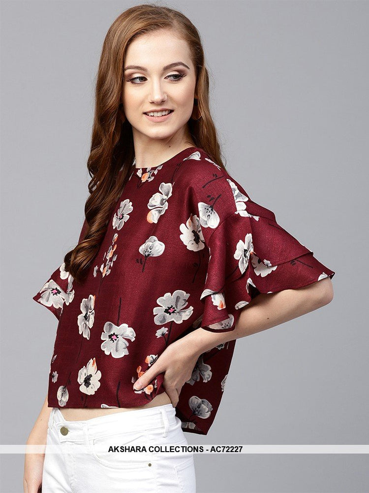 AC72227 - Maroon Color Rayon Top