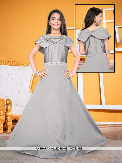 AC72237B - Grey Color Satin Tafeta Silk Gown