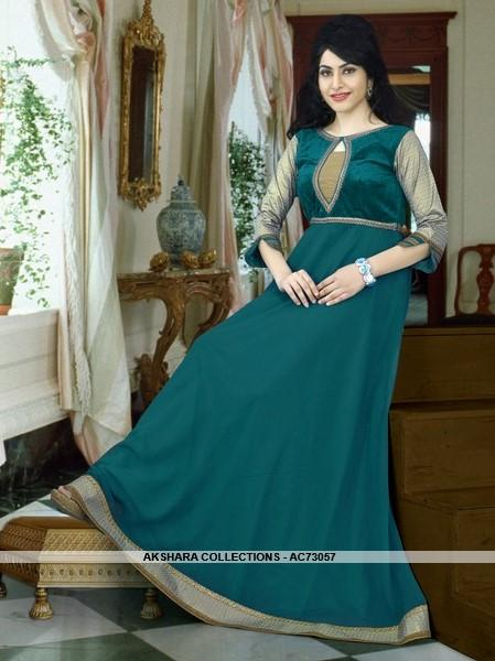 AC73057 - Pine Green Color Georgette Gown