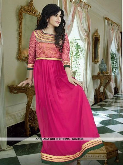 AC73058 - Rani Pink Color Georgette Gown