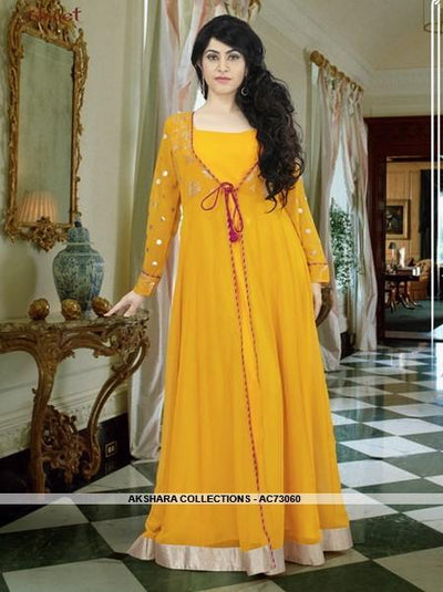 AC73060 - Musturd Yellow Color Georgette Gown