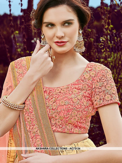 AC73134 - Beige Color Jonpuri Silk Lehenga Choli