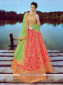 AC73135 - Crimson Red Color Gota Net Lehenga Choli