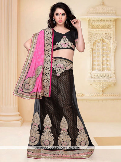 AC73176 - Black Color Net Lehenga Choli