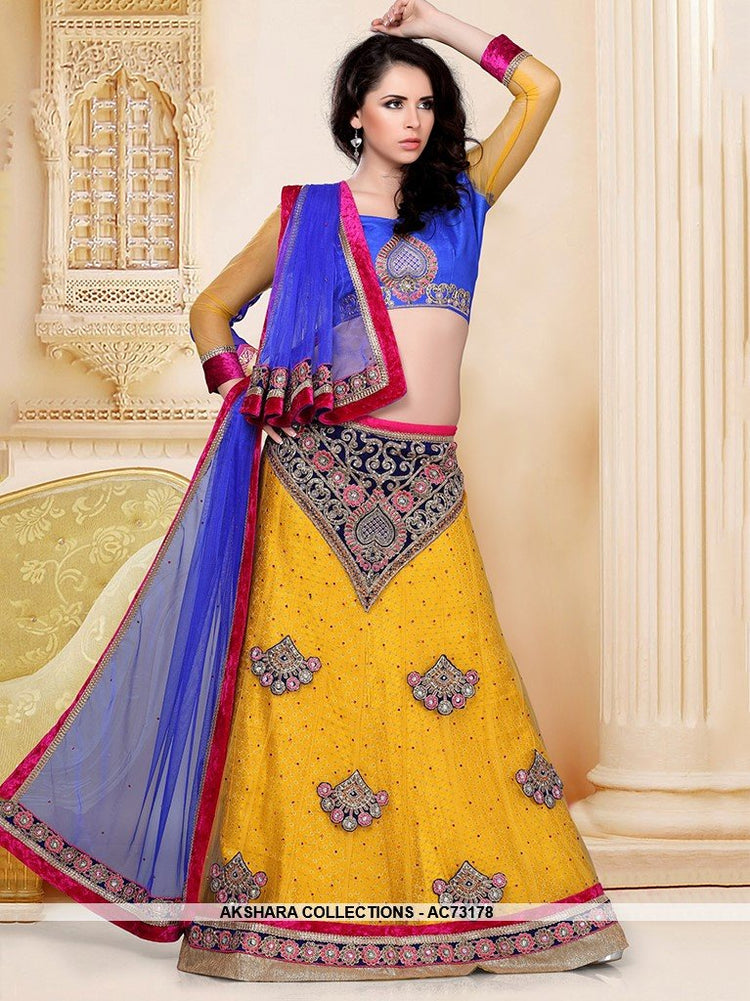 AC73178 - Yellow Color Net Lehenga Choli