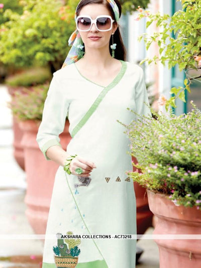 AC73218 - Off White and Green Color Linen Kurti