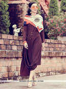 AC73224 - Wine and Multi Color Color Modal Silk and Muslin Kurti