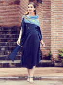 AC73227 - Navy Blue and Blue Color Modal Silk and Muslin Kurti