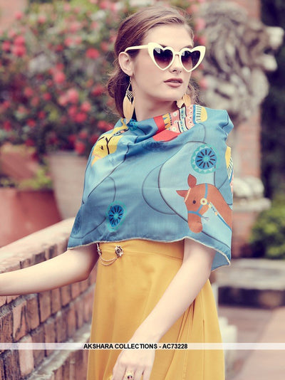 AC73228 - Yellow and Light Blue Color Modal Silk and Muslin Kurti