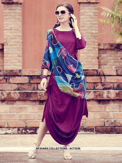 AC73230 - Dark Magenta Pink and Blue Color Modal Silk and Muslin Kurti