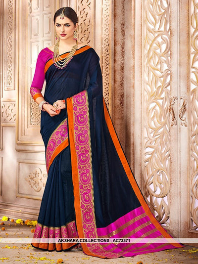 AC73371 - Navy Blue Color Cotton Silk Saree