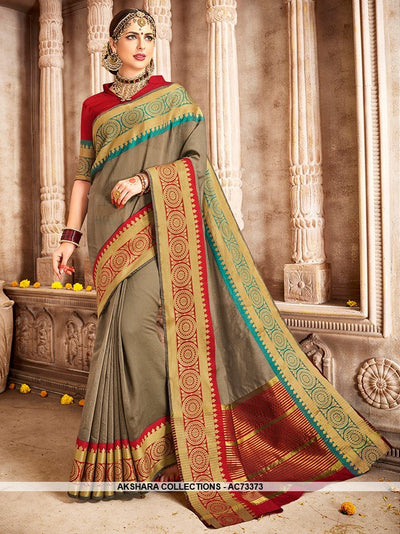 AC73373 - Khakhi Color Cotton Silk Saree