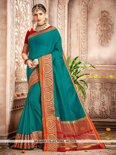 AC73374 - Teal Color Cotton Silk Saree