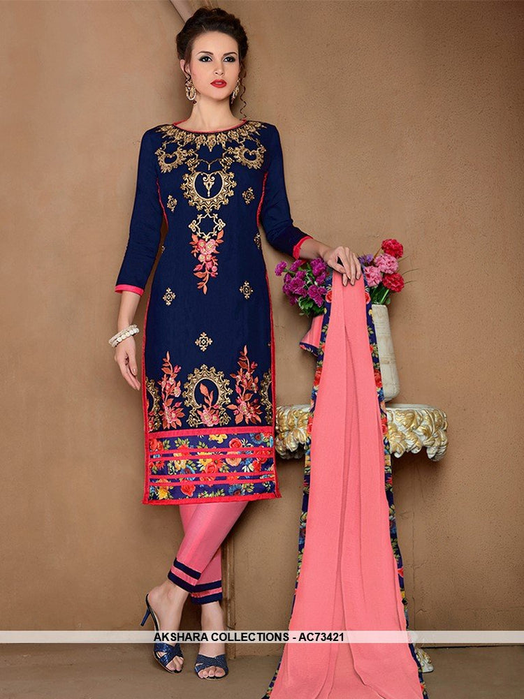 AC73421 - Navy Blue Color Glaze Cotton Salwar Kameez