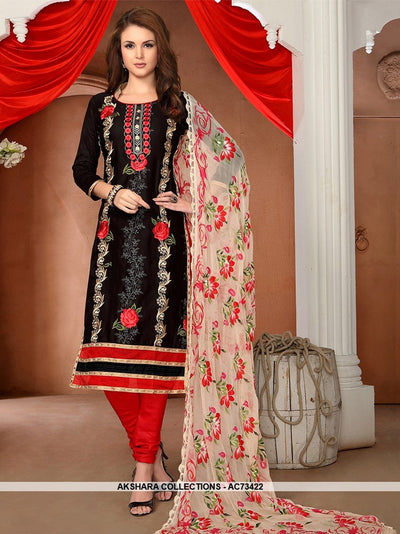 AC73422 - Black Color Glaze Cotton Churidar Suit