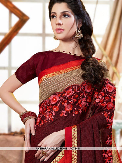 AC73441 - Maroon and Red Color Georgette Half n Half Saree