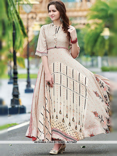 AC73457 - Cream Color Maslin Cotton Gown