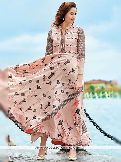 AC73458 - Peach Color Maslin Cotton Gown