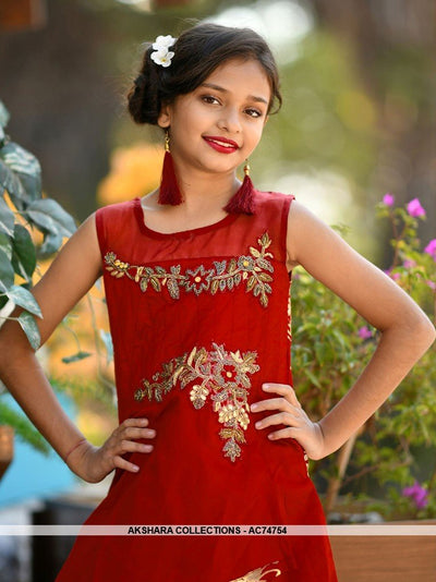 AC74754 - Red Color Tafeta Silk Kids Readymade Gown
