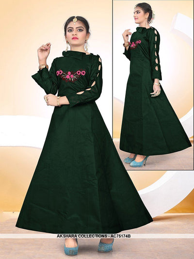 AC75174B - Dark Green Color Satin Tafeta Silk Gown