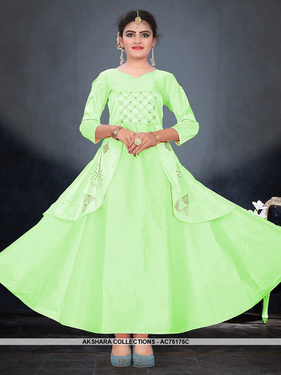 AC75175C - Light Green Color Satin Tafeta Silk Gown