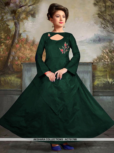 AC75176B - Dark Green Color Satin Tafeta Silk Gown