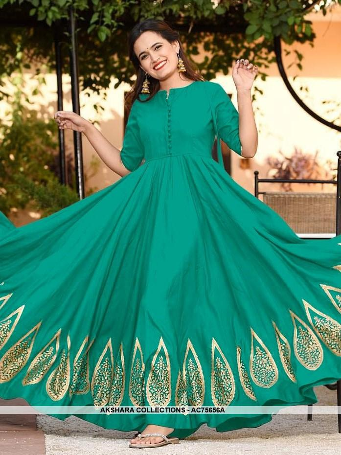 AC75656A - Light Sea Green Color Rayon Gown