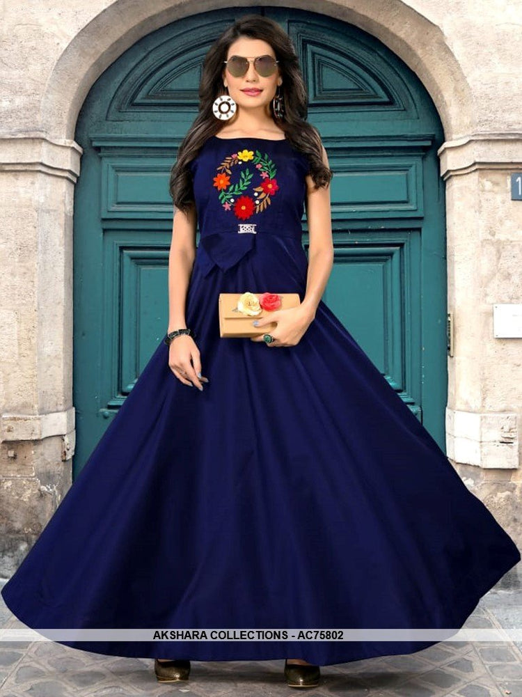 AC75802 - Navy Blue Color Heavy Art Silk Gown