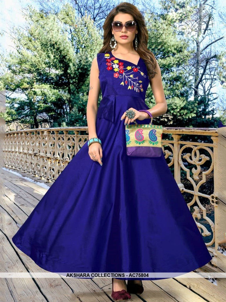 AC75804 - Royal Blue Color Heavy Art Silk Gown