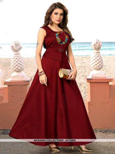 AC75805 - Maroon Color Heavy Art Silk Gown