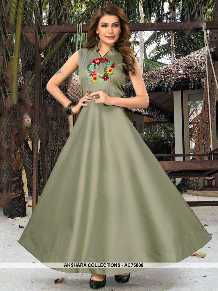 AC75808 - Slate Grey Color Heavy Art Silk Gown