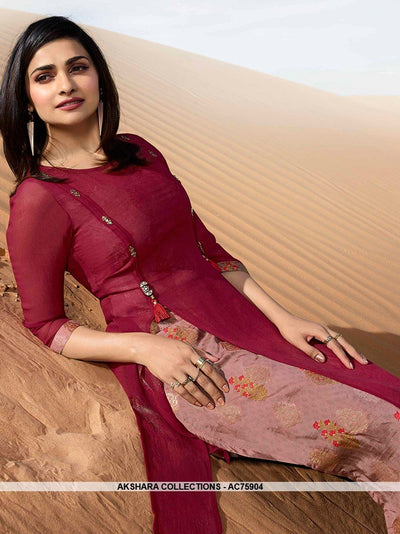 AC75904 - Pink and Peach Color Georgette Kurti