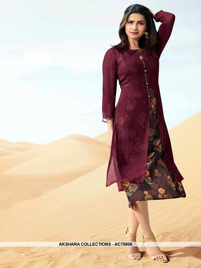 AC75906 - Wine Color Georgette Kurti