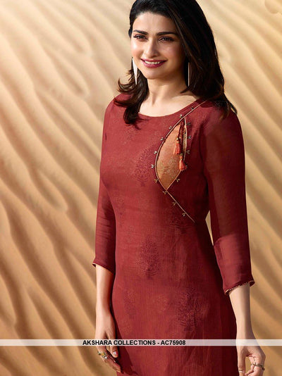 AC75908 - Rust Color Georgette Kurti