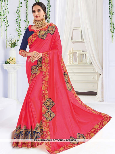 AC75935 - Dark Pink Color Art Silk Saree