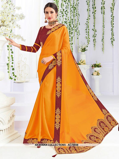 AC75938 - Musturd Yellow Color Georgette Saree