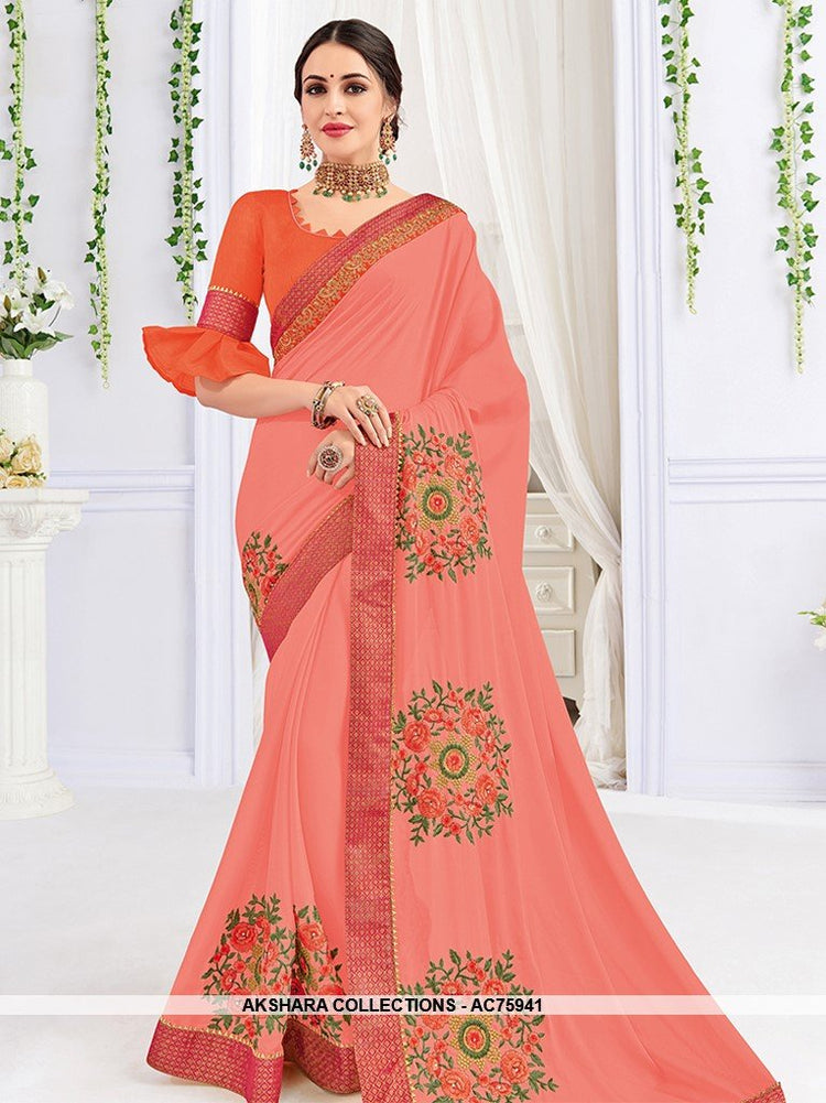 AC75941 - Pink Color Georgette Saree