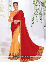 AC75944 - Red and Orange Color Georgette and Art Silk Half n Half Saree