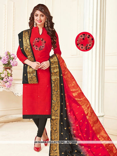 AC75956 - Red Color South Cotton Churidar Suit