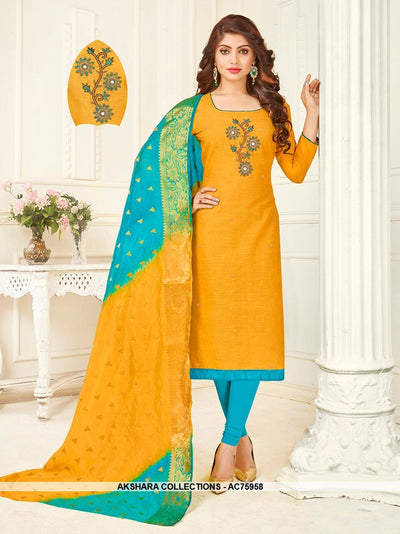 AC75958 - Musturd Yellow Color South Cotton Churidar Suit