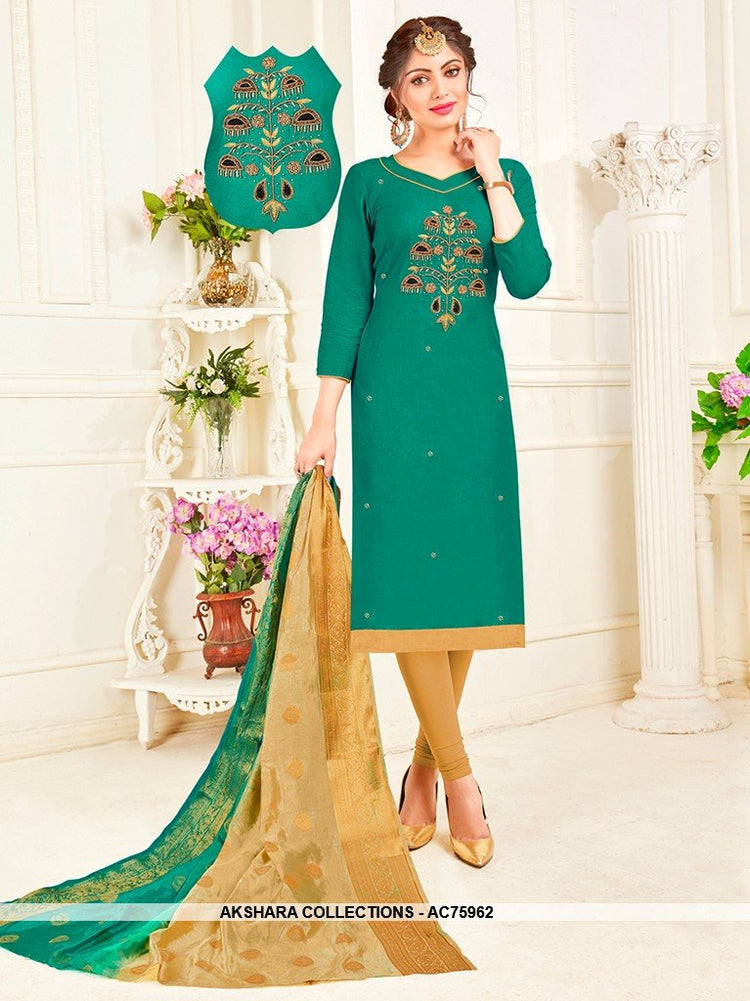 AC75962 - Sea Green Color South Cotton Churidar Suit