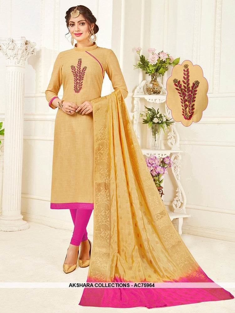 AC75964 - Beige Color South Cotton Churidar Suit