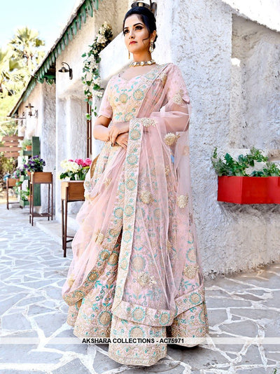 AC75971 - Light Pink Color Malai Satin Lehenga Choli