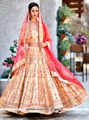 AC75973 - Peach Color Malai Satin Lehenga Choli