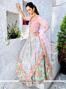 AC75978 - Cyan Color Bamboo Silk Lehenga Choli