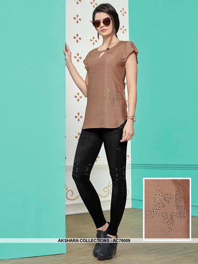 AC76009 - Light Brown Color Muslin Cotton Top